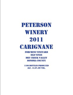 Carignane 2011, Forchini Vineyard- SOLD OUT!